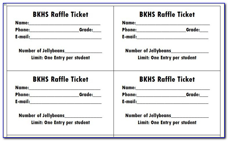 Raffle Ticket Free Templates For Word