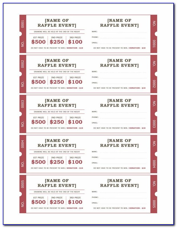 Raffle Tickets Template Free Numbering