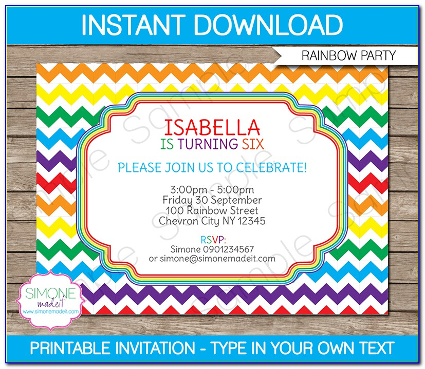 Rainbow Birthday Party Invitation Template Free