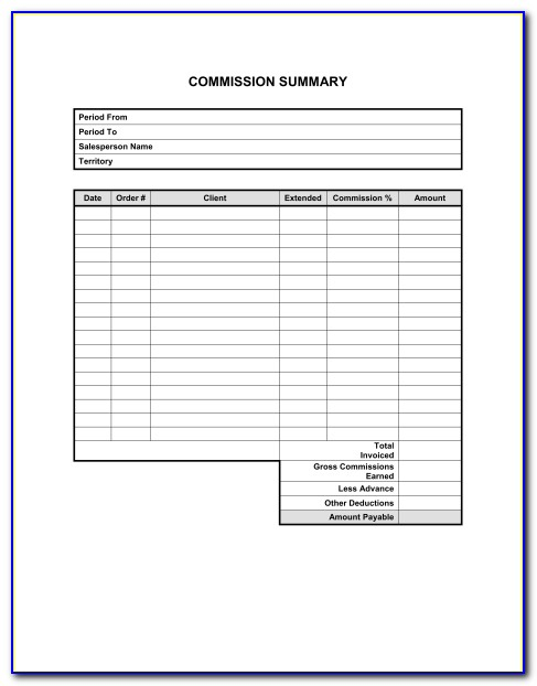 Real Estate Agent Commission Invoice Template