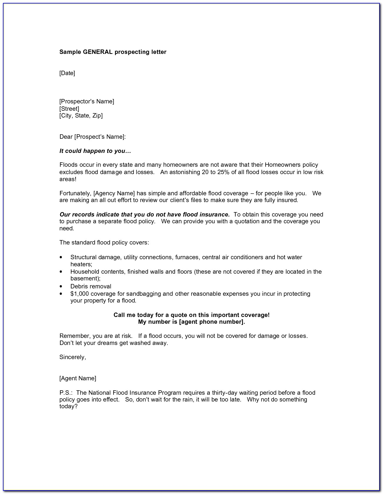 Real Estate Prospecting Letter Template Letters Samples Format