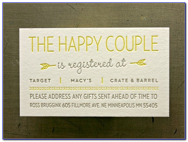 Registry Inserts For Wedding Invitations Templates