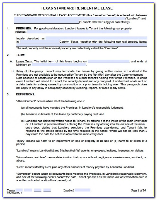 Rental Agreement Document Template