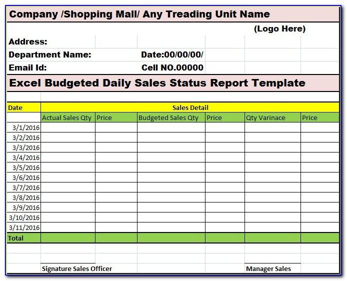 Restaurant Daily Sales Report Format