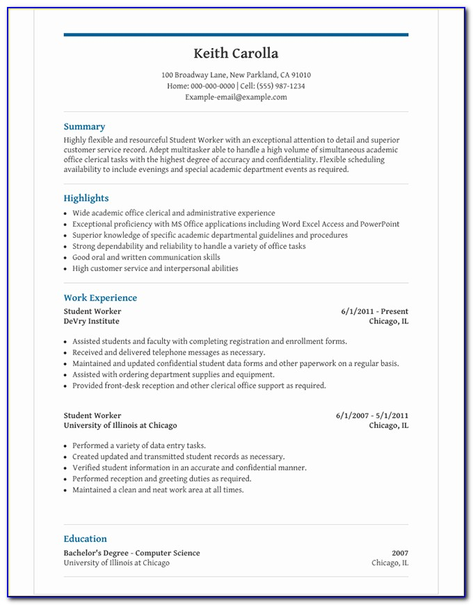 Resume Template For A Student In High School