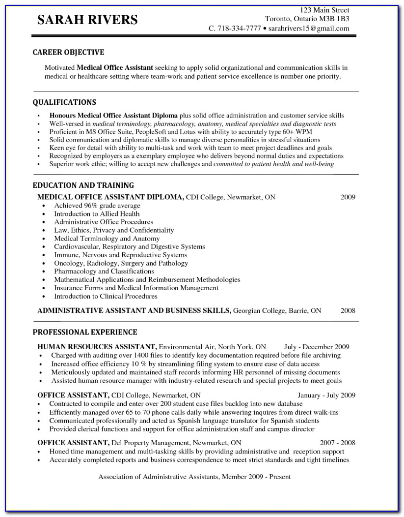 Resume Templates For Medical Assistants Level Entry