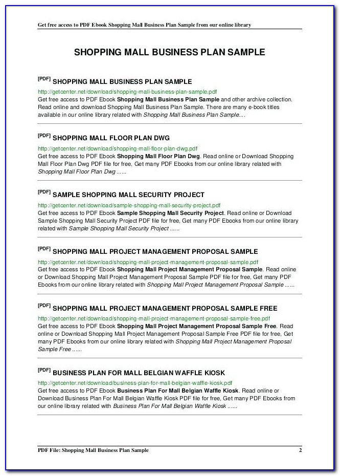 Retail Store Business Plan Template