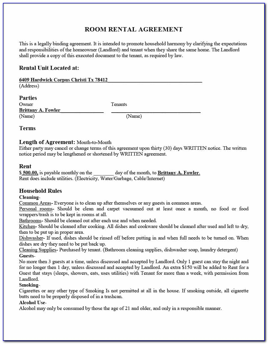 Room Rent Contract Template Uk