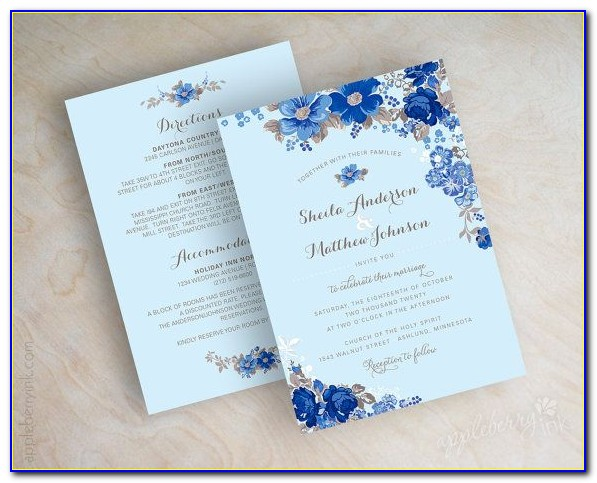 Royal Blue And Gold Wedding Invitation Templates Free