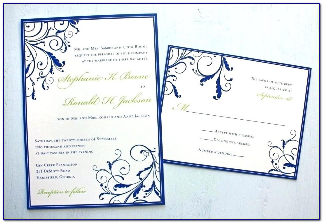 Royal Blue And Yellow Wedding Invitation Templates Free