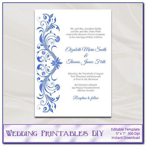 Royal Blue Wedding Invitation Templates Free Download