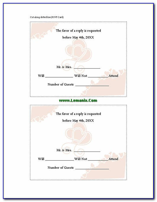 Rsvp Card Template 10 Per Page