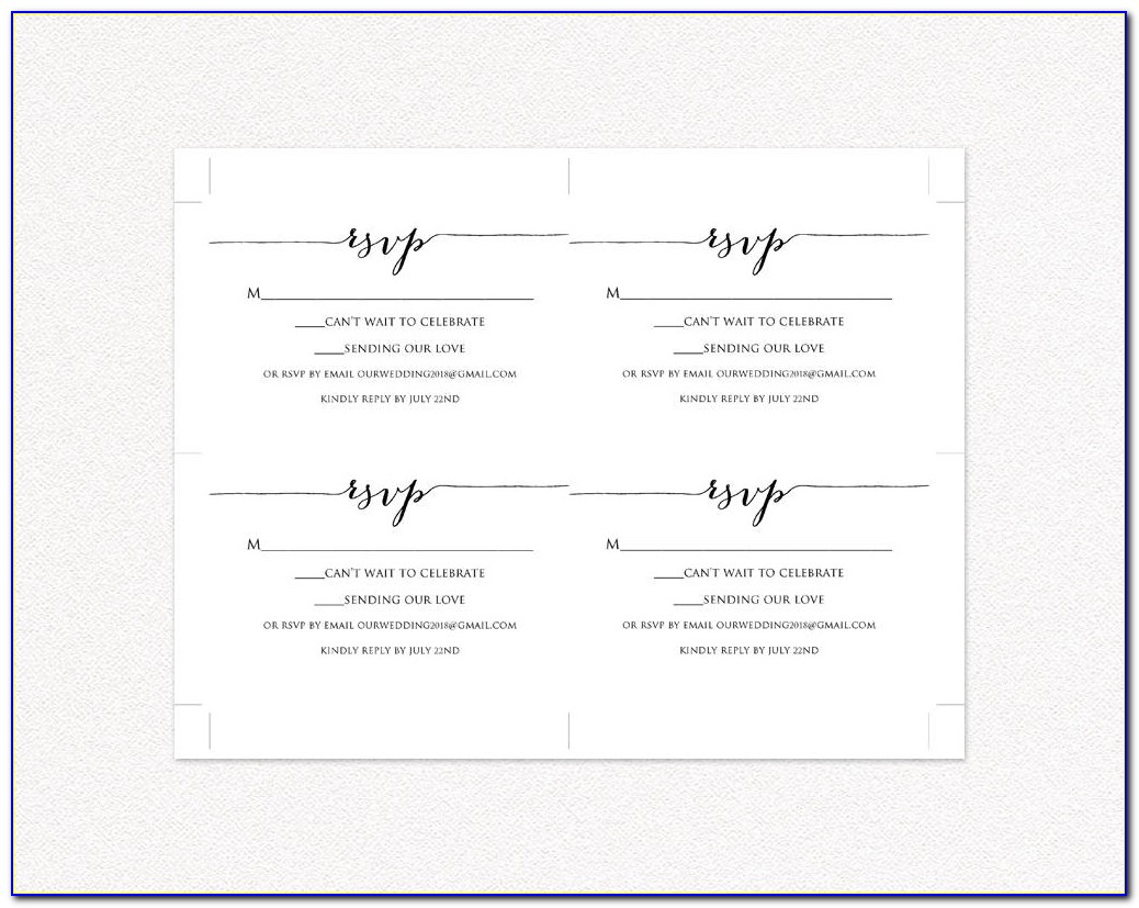 Rsvp Card Template 4 Per Page