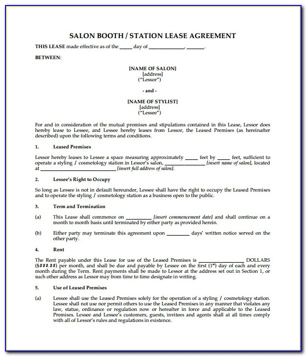 Salon Booth Rental Contract Template