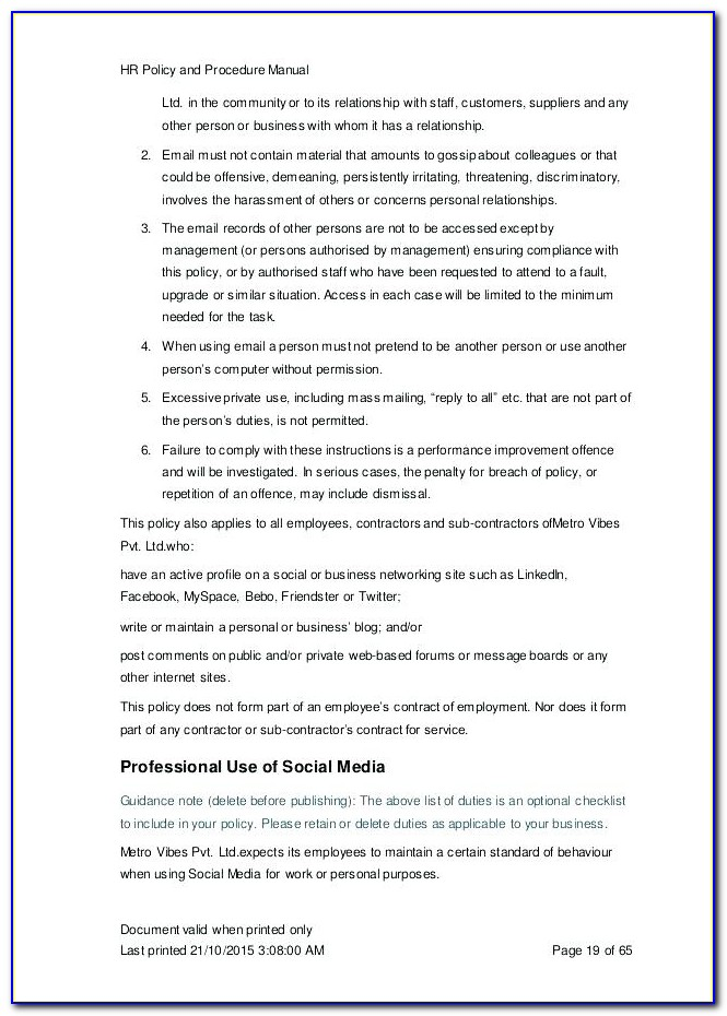 Salon Policies And Procedures Template