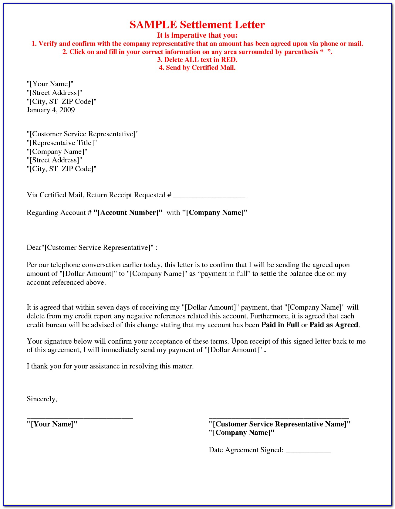 Sample Debt Settlement Agreement Template
