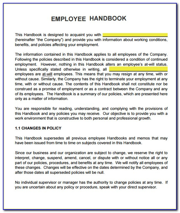 Sample Employee Handbook Welcome Statement