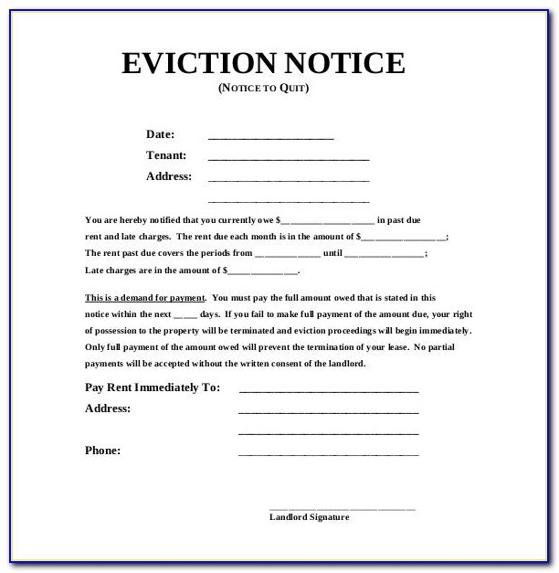 Sample Eviction Notice To Tenant