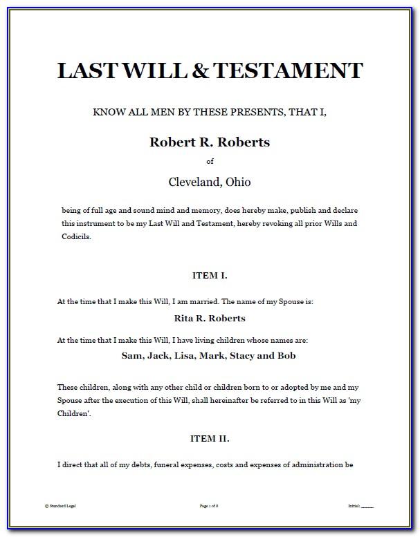 Sample Last Will And Testament Template California