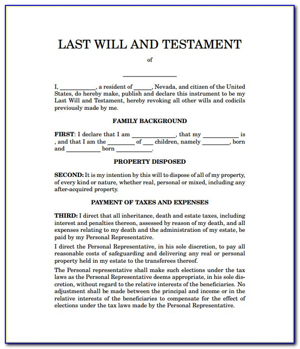 Sample Of Last Will And Testament Template