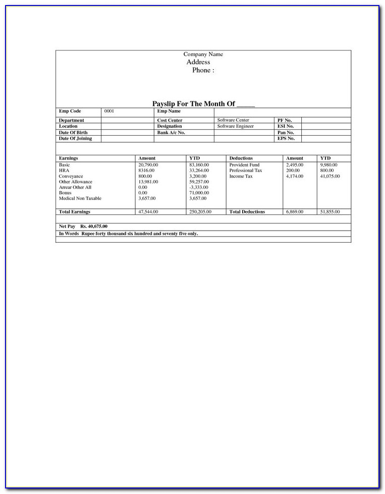 Sample Pay Stub Template Excel