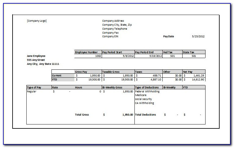 Sample Payroll Check Stub Template