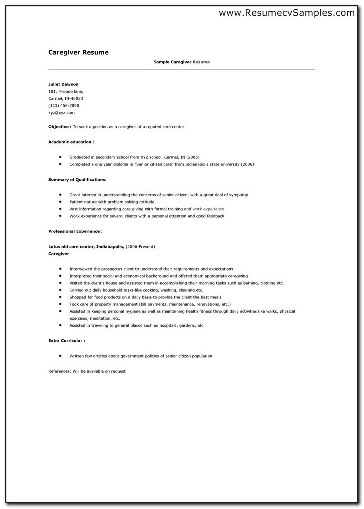 Sample Resume Caregiver Template