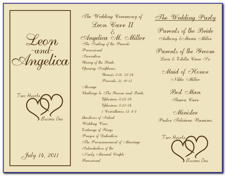 Sample Tri Fold Wedding Program Templates
