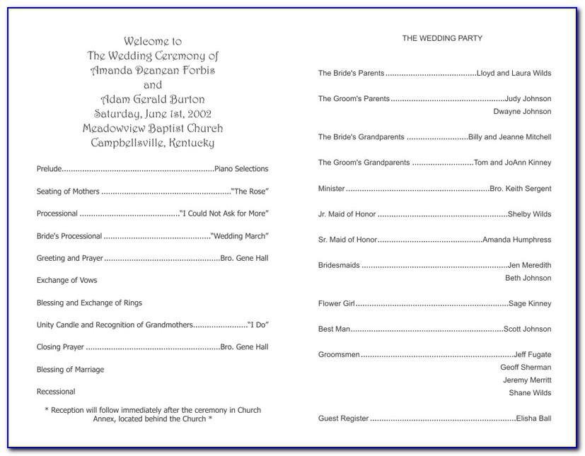 Sample Wedding Ceremony Program Template