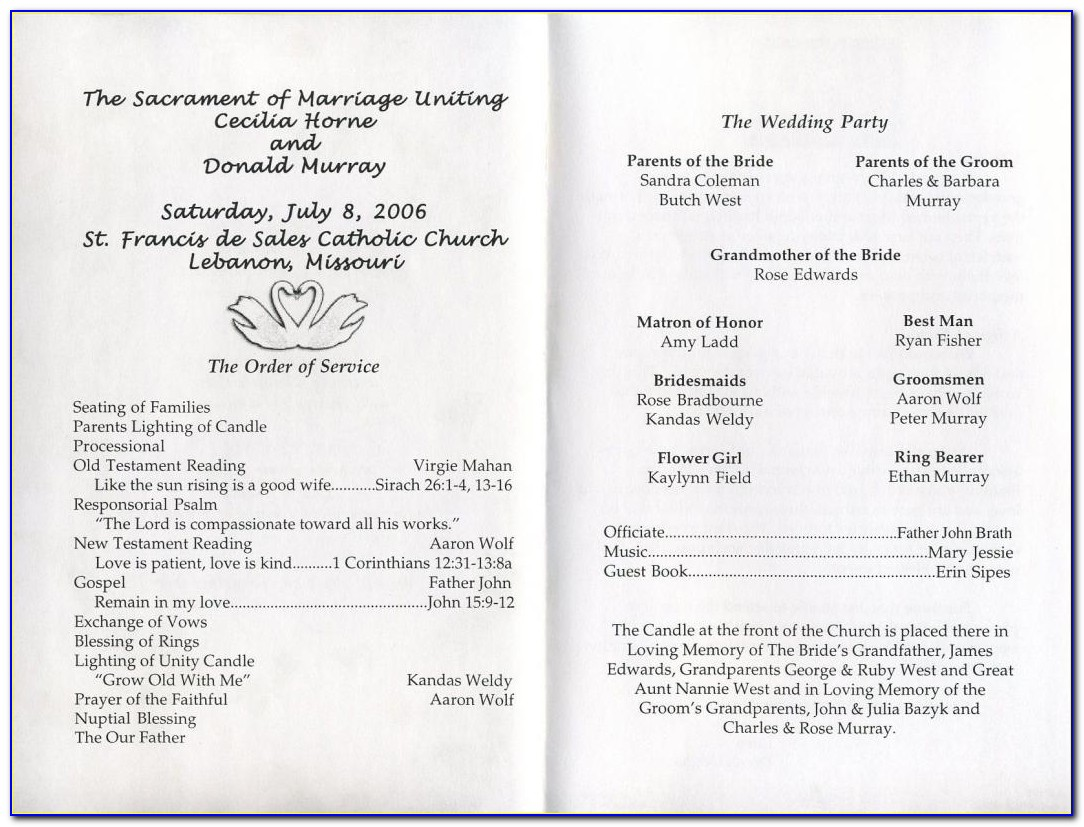 Sample Wedding Program Layout
