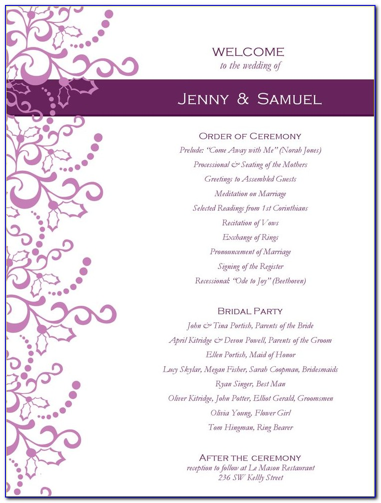 Sample Wedding Reception Program Format
