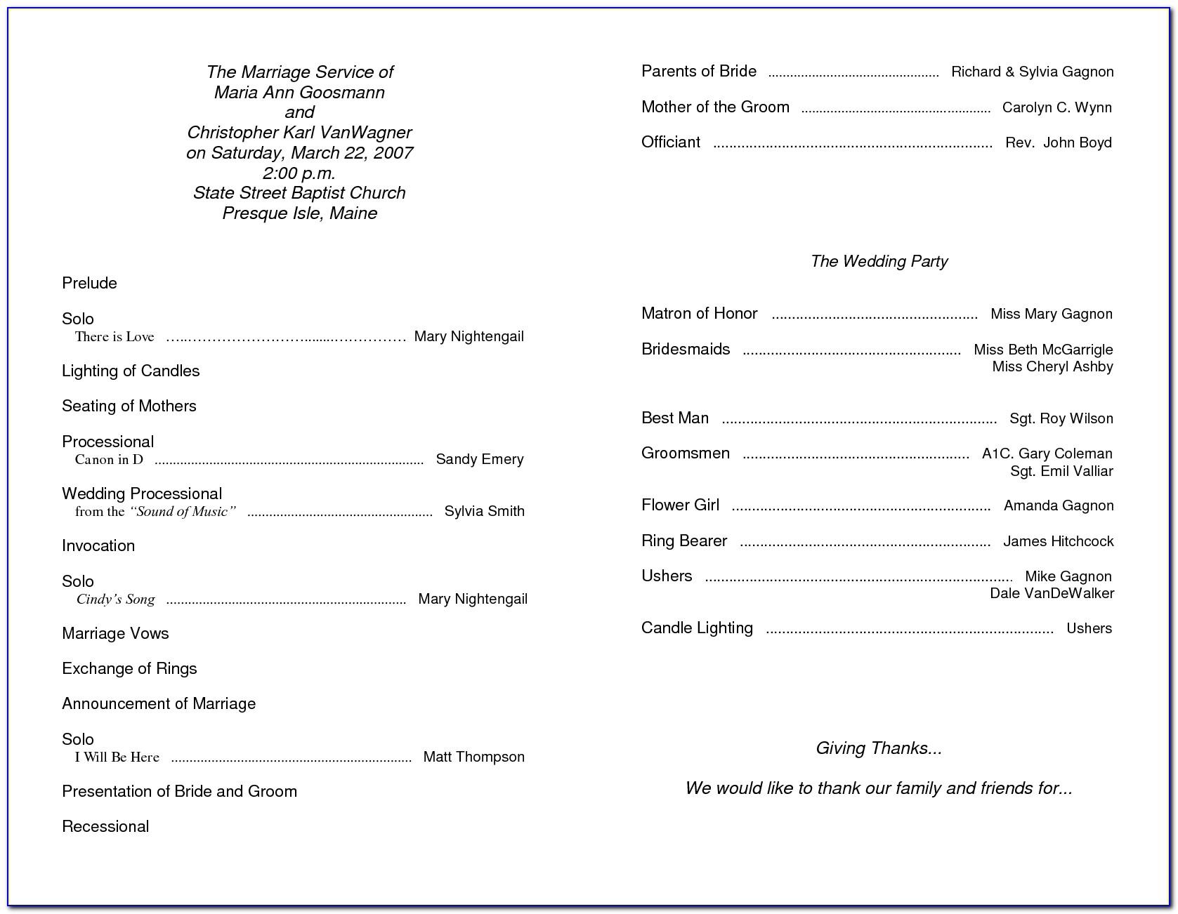 Sample Wedding Reception Program Template