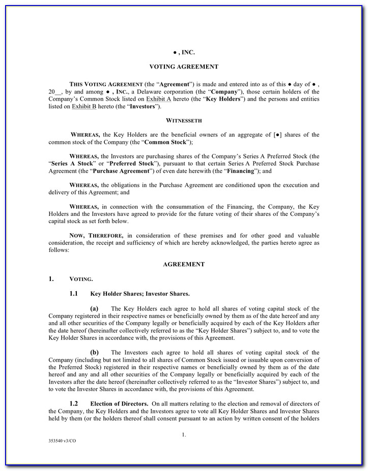 Shareholder Voting Agreement Template