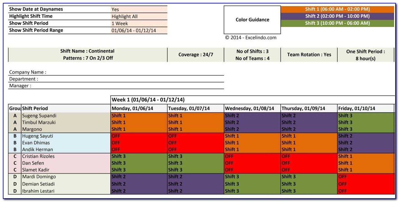 Shift Planner Template Nursing