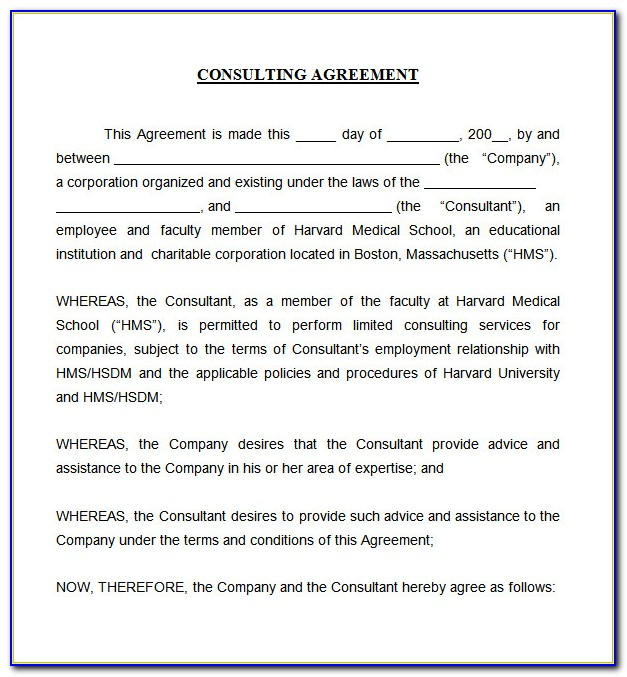 Short Consulting Agreement Template Word