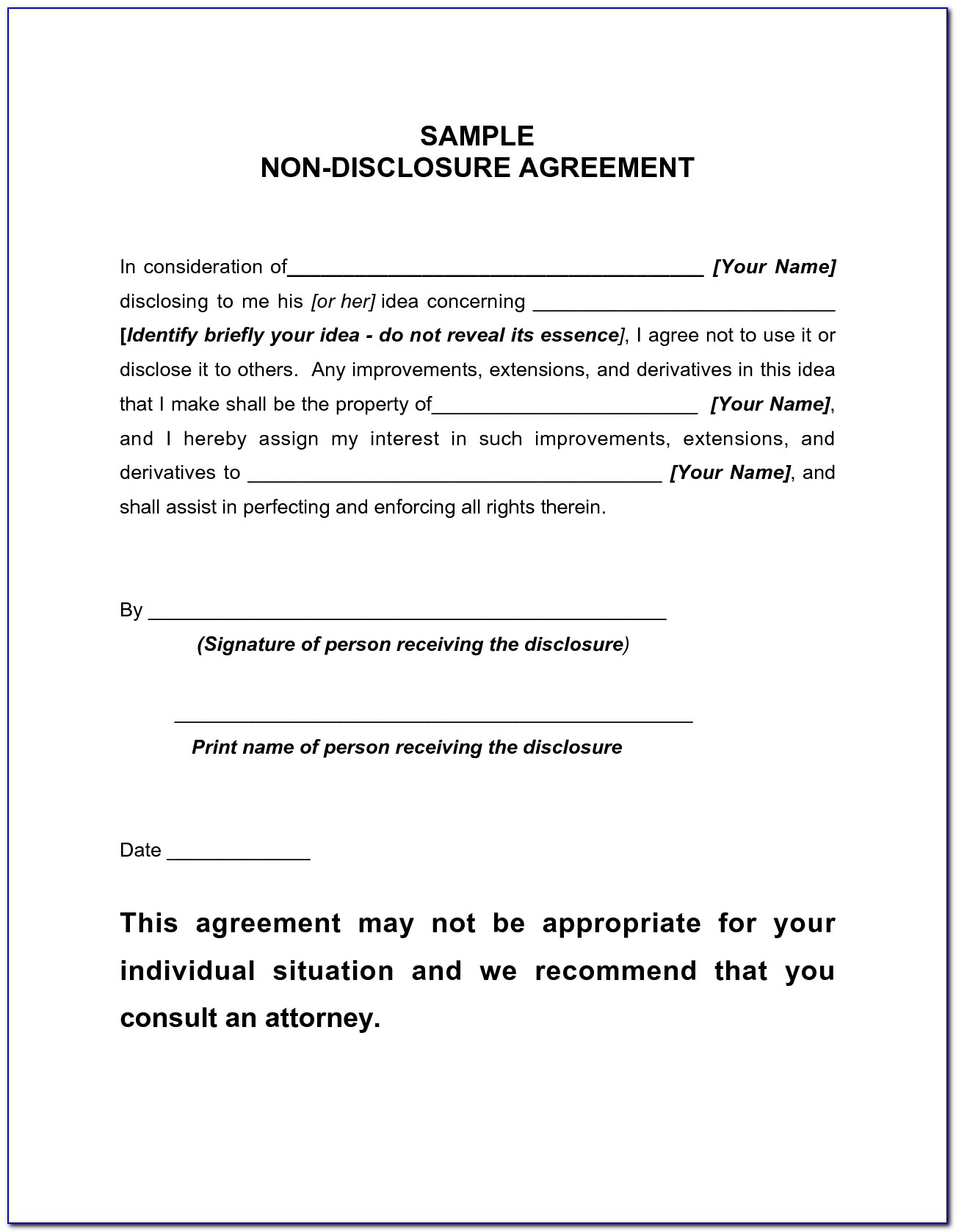 Simple Non Disclosure Agreement Template Australia