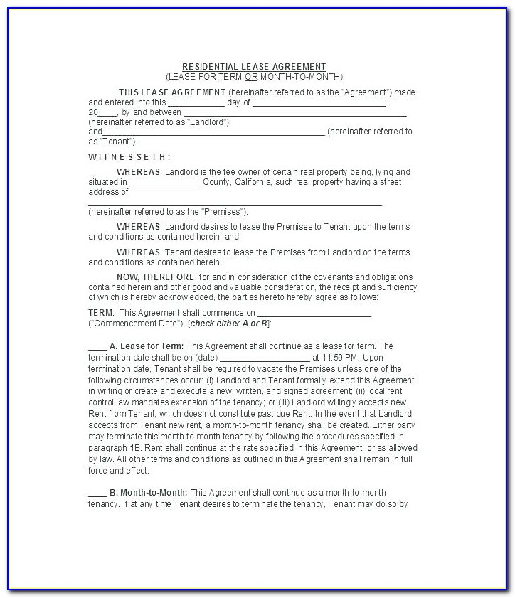 Simple One Page Lease Agreement Template South Africa