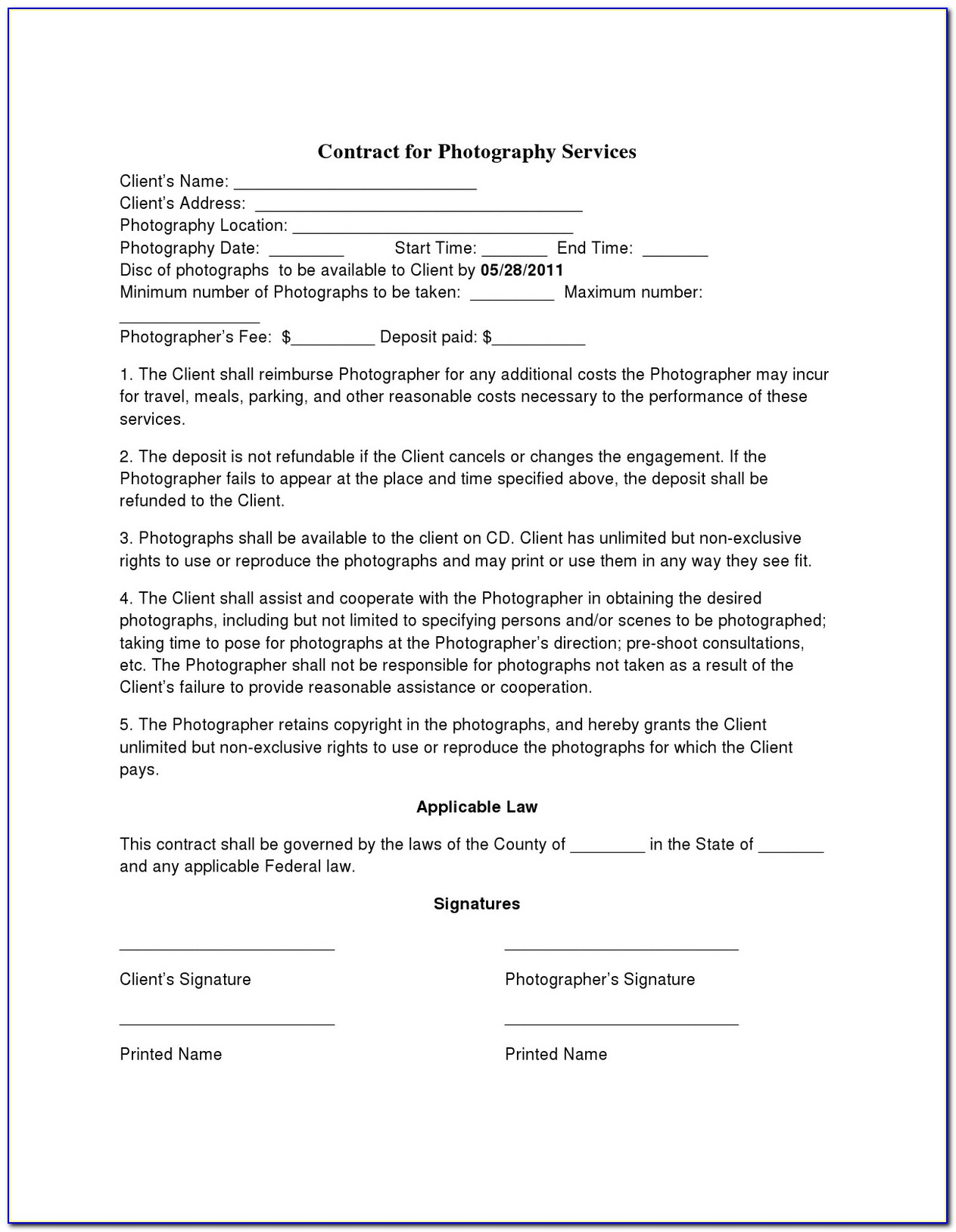 Simple Wedding Photography Contract Template Free