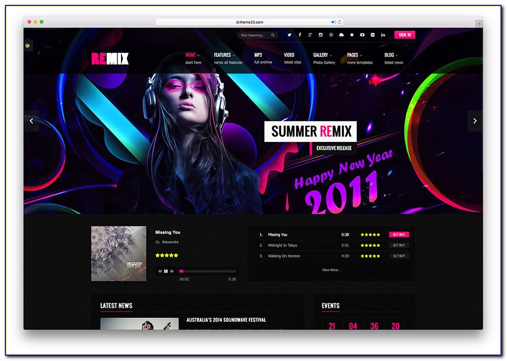 Singer Website Templates Free Download