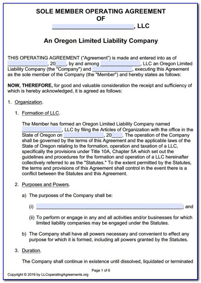 Single Member Llc Operating Agreement Template Oregon