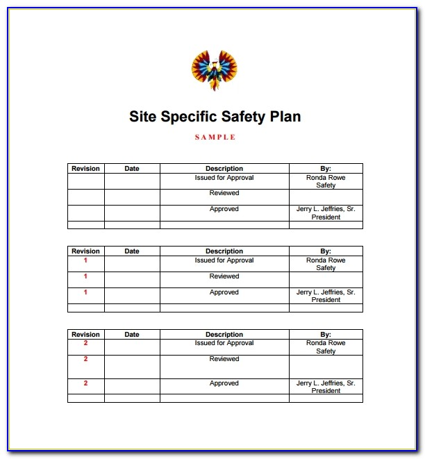 Site Specific Safety Plan Template Free
