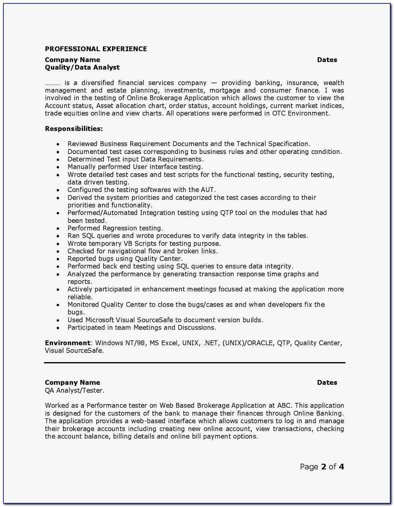 Software Qa Resume Template