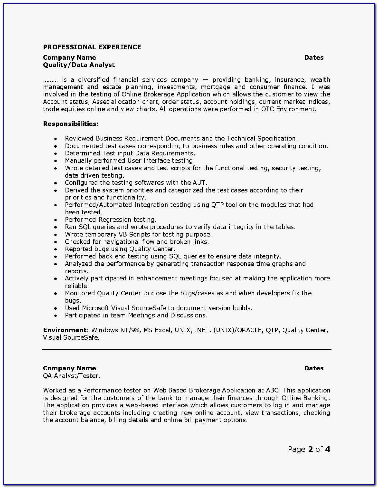 Software Qa Resume Template