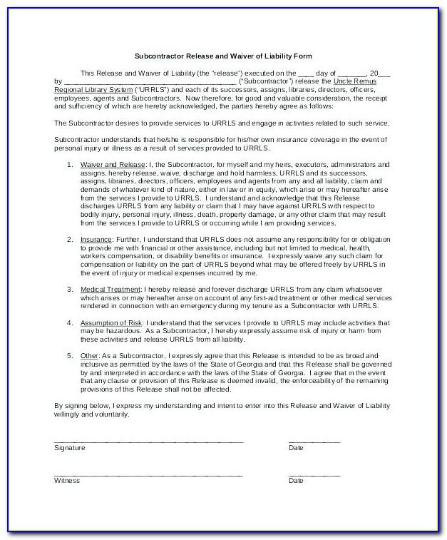 Sports Participation Waiver Template