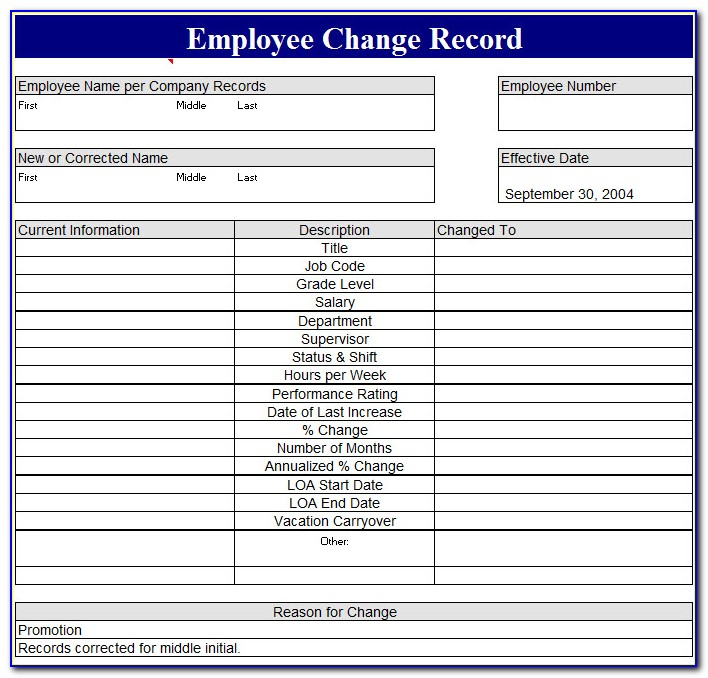 Staff Records Template Excel