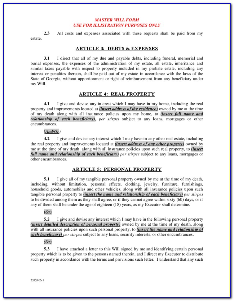 State Of Georgia Last Will And Testament Template