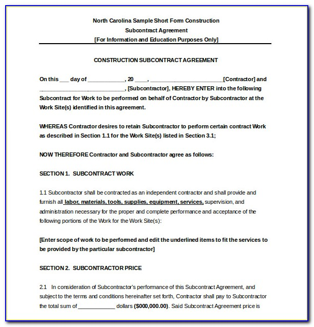 Subcontractor Agreement Sample Construction