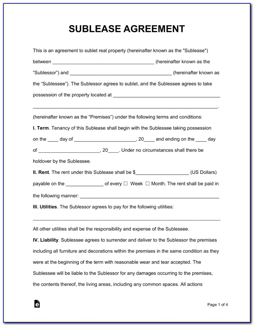 Sublet Lease Template Free