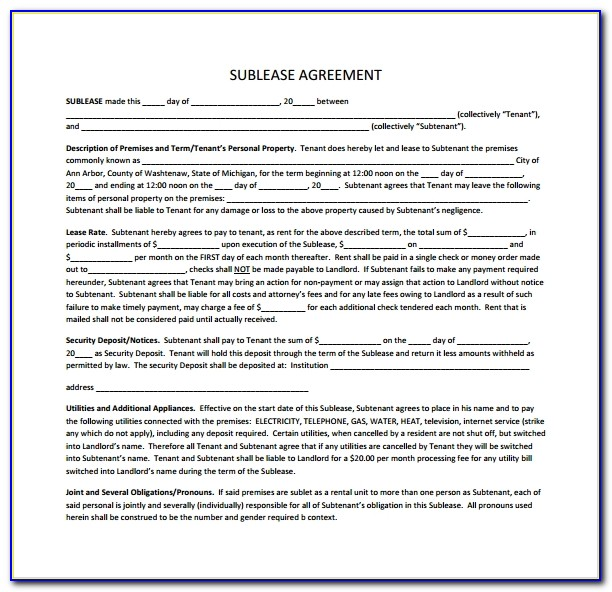 Subletting Lease Agreement Template South Africa