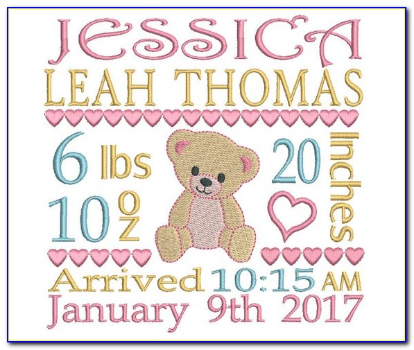 Subway Art Birth Announcement Embroidery Template